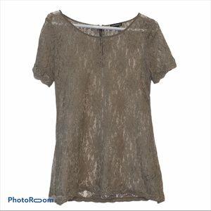 Express Lace Top Exposed Zipper Tan Size Medium